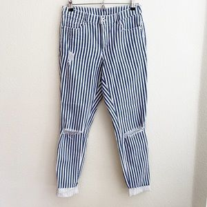 H&M Divided Super Skinny Striped Distressed Jeans